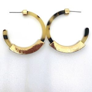 Acrylic Resin and Gold Open Circle Hoop Earrings